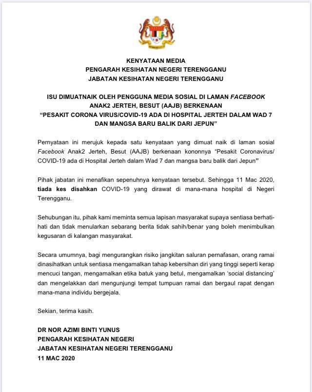 Dakwaan Pesakit Covid 19 Di Jerteh Palsu M Update